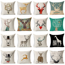 Reindeer Giraffe Sika Deer Cotton Linen Pillowcase Decorative Cushion Cover Use For Home Sofa Car Office Almofadas Cojines(China)