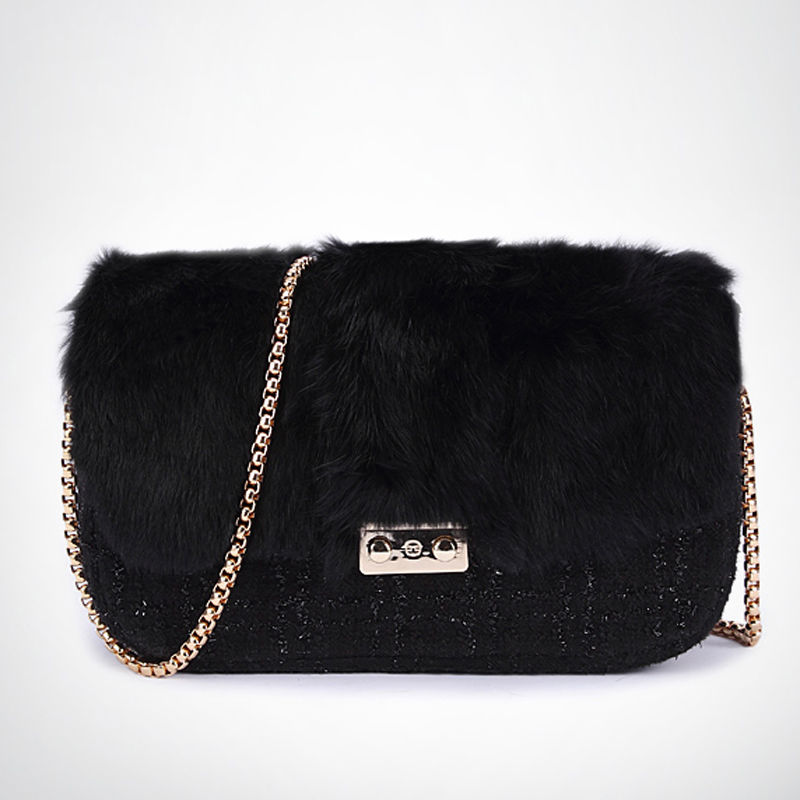2017 winter new lady rabbit bags diagonal black chain bag cover type internal spacer shoulder bag<br><br>Aliexpress