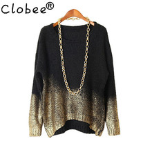 Women Winter Sweater 2017 Woman Clothing Autumn Female Pullovers Knitted Black Batwing Sleeve Gold Gradient Hem Sweater SA352