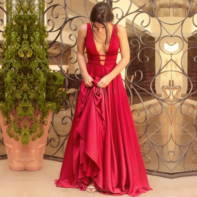 Berylove Sexy Red Evening Dress 2019 Elegant Satin Evening Gown Long Formal Abiye Prom Party Dress vestido longo festa 04010248(China)