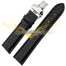 New 20mm  Personality weaving grain cowhide leather bracelet stainless steel double buckle High Quality Bracelet Watch Band