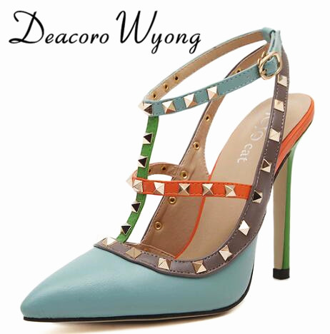 Free shipping female summer mixed colors sexy 10.5 two belts rivets party sandals pumps, fashion Rivets two belts wedding heels<br>