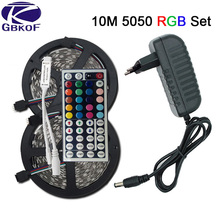 SMD RGB LED Strip Light 5050 3528 10M 5M LED Light rgb Leds tape diode led ribbon Flexible mini IR Controller dc 12V Adapter set(China)