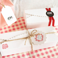 New 21.5*7*4.3cm 10 Pcs White Wedding Birthday Party Cake Gift Paper Box Christmas Cookie Macaron Chocolate Packing Package Boxe