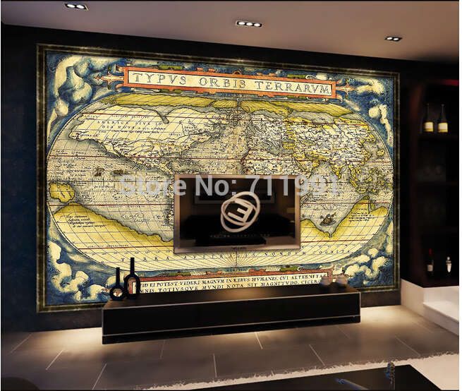 Custom 3D wallpaper nautical ancient map mural living room bedroom study library background wallpaper embossed pattern material<br>