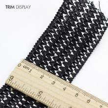 Lace Fabric  Black Silver Elastic Stretch Ribbon Trim Applique Venise 40mm Decorated Craft Sewing Supplies for Belt 30yards/T892