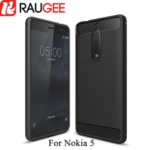 2017 Newest RAUGEE for Nokia 5 Case Carbon Fiber Soft Cover Silicone TPU Protective Back Cover Phone Cases for nokia 5 In Stock