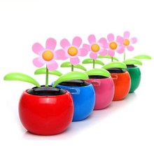 Wholesale ,Icarekit, Arrival Plastic Crafts Home Flowerpot Solar Power Flip Flap Flower Plant Swing Auto Dance Toy 460585(China)