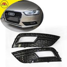 Free shipping Full black S4 RS4 style facelift foglamp cover car front fog lights hoods mesh grill for Audi A4 B9 2013-2015