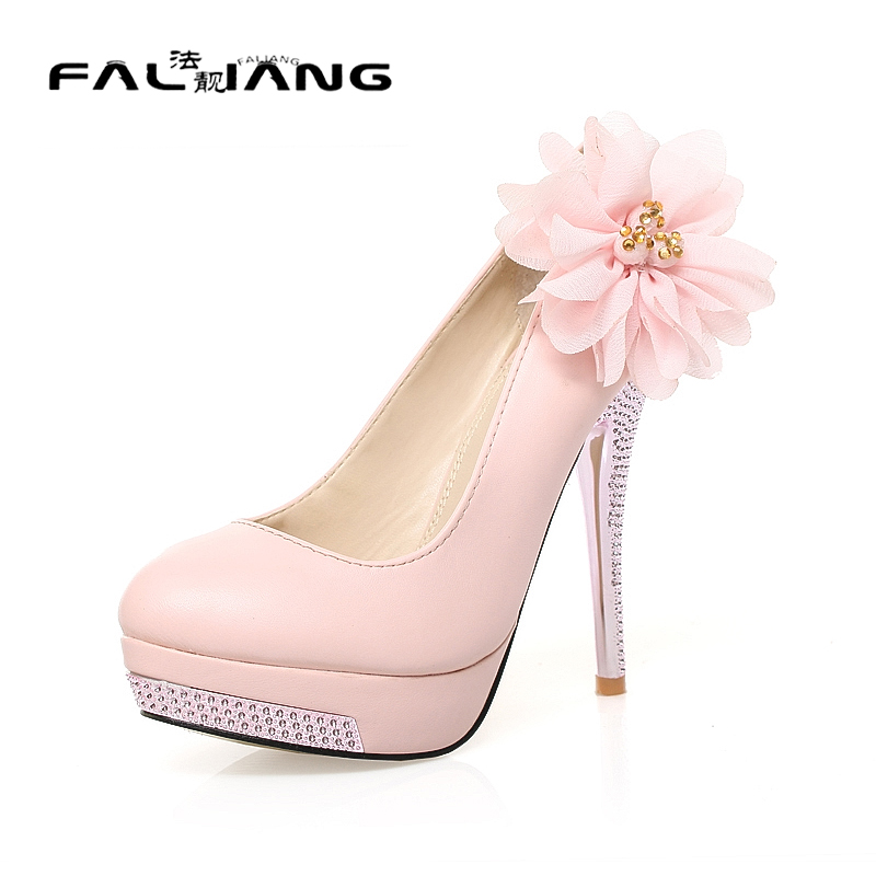 Women Shoes High Heel 2017 Sweet Flower Casual Round Toe Thin Heels Womens Size 11 12 Platform Extreme