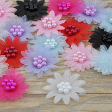 30pcs Ribbon Daisy W/pearl wedding/Appliques/Craft/Girl Lots Mix E160(China)
