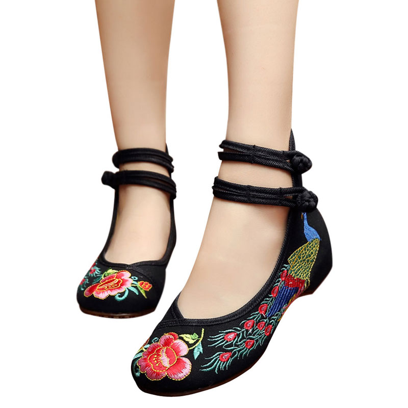Old Beijing Embroidered Women Shoes Mary Jane Flat Heel Chinese Style Cheuk Hung Embroidered Shoes Casual Cloth Shoes Woman<br><br>Aliexpress