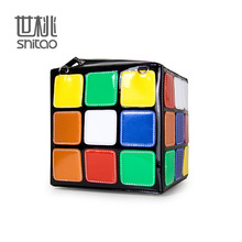 European Tide Colour Square Magic Cube Package Carry Woman Package Handbag 2016 New Pattern Foreign Trade Diagonal Package