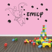 Custom-made Personalized Dumbo Elephant With Bubbles Wall Art Sticker Kids Boys&Girls Nursery Bedroom Vinyl Decor Decoration