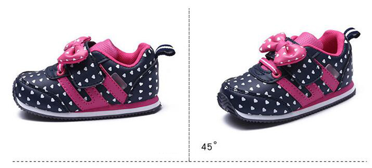 17 Autumn girl running sports shoes heart print black pink bowknot baby girls shoes Children casual Sneaker kid soft gym shoes 7