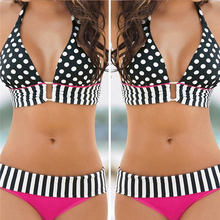 Buy Swimwear Women Bikini 2017 Hot Sale Plus Size Sexy Polka Dot Swimsuit Halter Bandage Push High Waist Retro Swim Bathing Suit