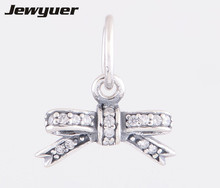 New 2014 Fashion bowknot Charms 925 Sterling Silver pendants for jewelry making fit Bracelet & Necklace DIY assessories DA091(China)