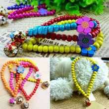 2017 Lovely pet necklace all-match Pet Bell Collars Wooden Beads pendant necklace Hot Sale(China)
