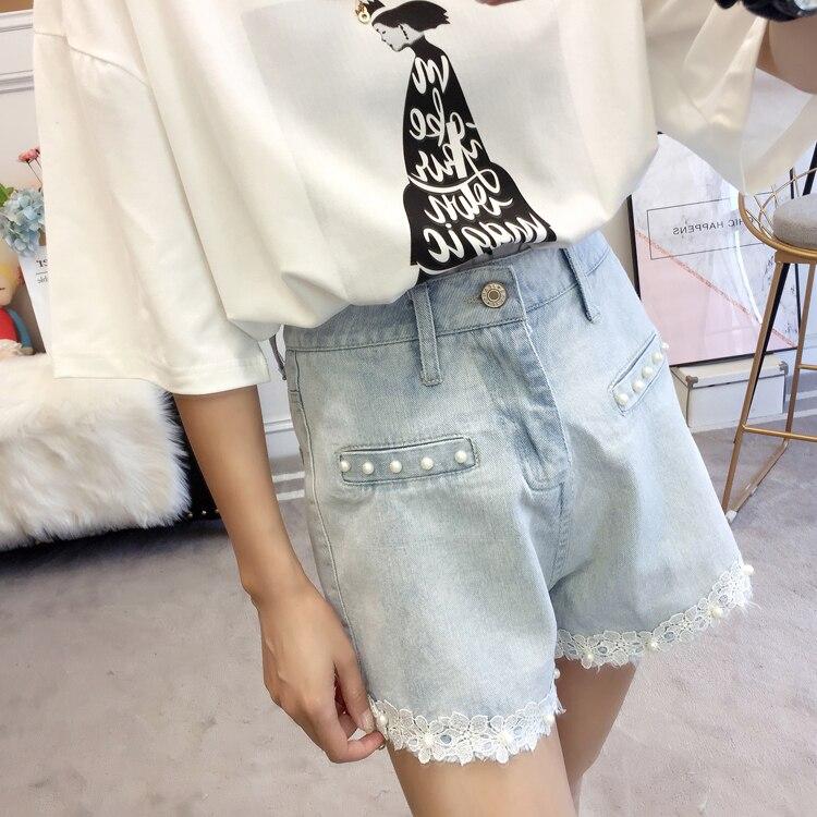 Woman Summer Denim Shorts Light Blue Wash Jeans Short Women Beaded Denim Bottoms Girls Plus Size Street Look Lace Hem Jeans Short 5XL 4XL 3XL XL (13)