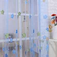 1PCS New Tulle Voile Sheer Curtains for Kids Girls bedroom Lovely Cartoon Star Print Window Curtains living room Home Textile(China)