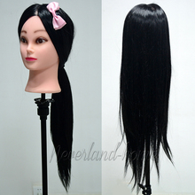 "Promotions Long 26"" Cosmetology 30% Human Hair Training Mannequin Head MINIKIN MODEL For Hairdressing Make up Desig practice"