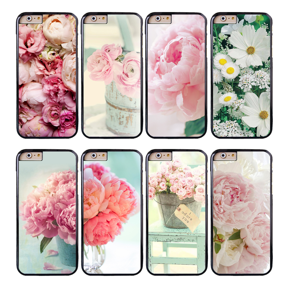 Coque Pink Peonies Flower Daisies Phone Cases for iPhone X 8 8Plus 7 6S 6 7 Plus 5S SE 5C 5 4S 4 Case for iPod Touch 6 5 Cover.(China)