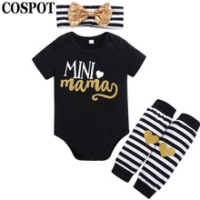 COSPOT 2018 New Baby Girls Clothes 3Pcs Headband+Bodysuit+Legges Summer Striped Cotton Clothing Set Newborn Clothes Jumpsuit E50(China)