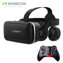 VR Shinecon G04E Stereo Virtual Reality Helmet Smartphone 3D Glasses Headset Google BOX +Headphone/Control Button for4-6' Mobile