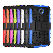 TOP Popular TPU&PC Heavy Duty Armor Stand Cases for google nexus 6 Case with Stand Protective Skin Double Color Shock Proof