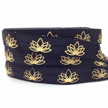 "Hot Sale 5/8"" Lotus Print Fold Over Elastic 10 yards/lot Black Lotus Flower Printed FOE Ribbon for Hair Tie Hair Accessories(China)"