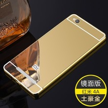 Light Metal Aluminum Alloy Frame with Mirror Back Hard PC Case for Xiaomi Redmi 4A 4 A Case for Xiaomi Redmi A4 Red mi 4A(China)