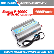 P-1000C 1KW Solar Power Inverter Modified Sine wave Inverter DC 12/24V to AC 220/230/240V,50/60HZ with AC Charger