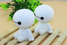 2015 HOT!! Cute kawaii Hero 6 Baymax Robot Bobble Head Shaking Head Toy Model Car Decoration 10cm Boxed PVC Action Figure Toy