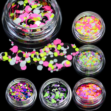 1g Nail Art Round Decorations New Mini Thin Mixed Colorful 1-3mm Designs Glitter Paillette Nail Art Tips Sticker P22-28(China)