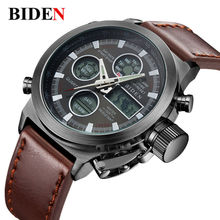 multi-functional waterproof watch Hot sale men  in the Sport of Diving LED display wristwatch Fashion Casual Leather strap