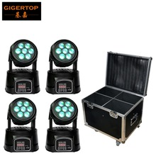 Flight Case 4in1 With 4pcs/lot 7*10W RGBW Led Moving Head Wash light DMX Disco Party Club DJ Equipment Stage Effect Lights