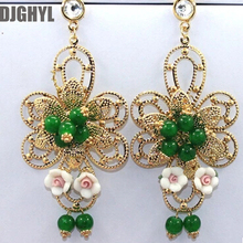 Yellow Gold Color Flower Green Crystal Exaggeration Fashion Large Big Earrings For Women Baroque Vintage Party Luxury Jewelry Ar