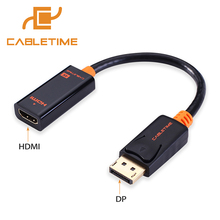 Cabletime DP To HDMI Male Female Converter 4k/2k Display Port To HDMI Adaptor Displayport hdmi 4kfor Macbook HDTV Projector N007(China)