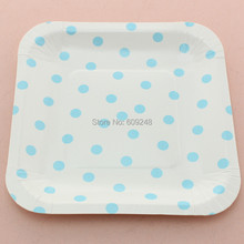 "24pcs 7"" Decorative Birthday Wedding Holiday Blue Polka Dot Square Pretty Paper Plates Party Dessert Paper Dishes Wholesale"