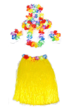 Hawaiian Grass Skirt flower Lei Wristband fancy Dress costume - Yellow
