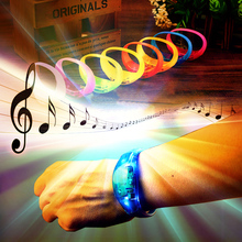 Luminous LED bracelet Sound vibration luminescence Silicone Bracelet Birthday Party Bracelet Event Supplies wedding decoration(China)