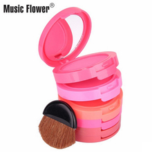 Music Flower 5 color Blusher Palette Beauty Red Blush Maquiagem Makeup Baked mineral Cream blusher colorete Sleek Cosmetic Set