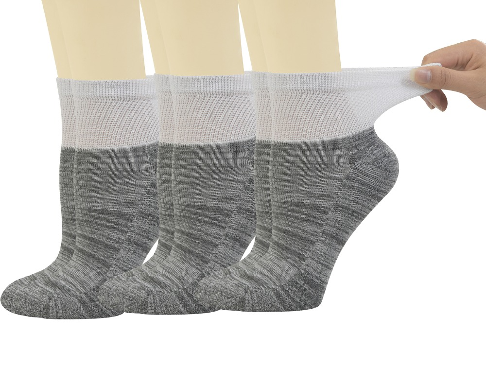 Yomandamor Womens 6 Pairs Bamboo Diabetic Ankle Socks with Non-Binding Top And