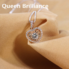Genuine 14K 585 Yellow Gold 0.5 Carat ctw GH Color Moissanite Diamond Pendant Necklace with Diamond Accent For Women Jewelry