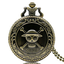 Vintage Bronze Pirate Skull Luffy One Piece Quartz Pocket Pendant Watch Gift for Men Woman Boy Free Shipping