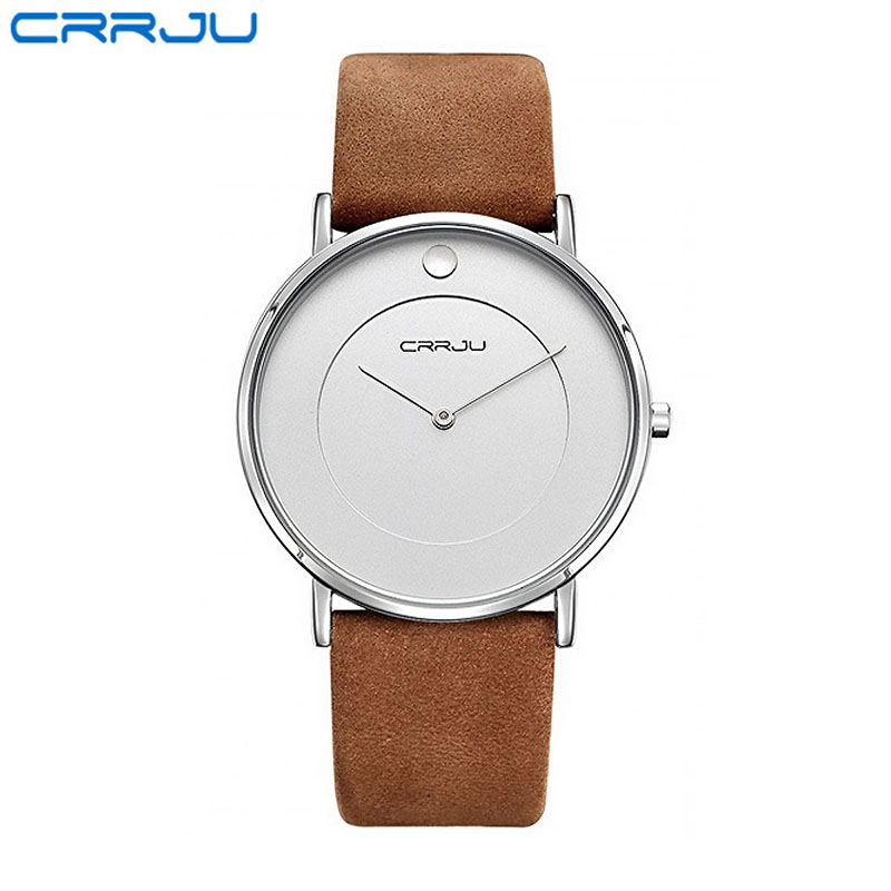 CRRJU White Black Round Dial Mens Watches Genuine Leather Men Business Watch Simple Pointer Male Quartz Wristwatches Waterproof<br>