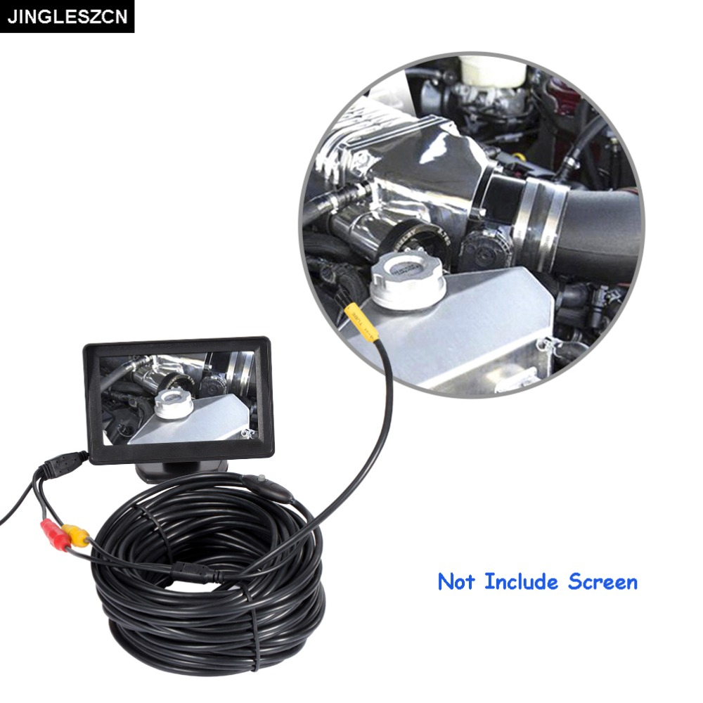 JINGLESZCN AV Endoscope Mini Camera 12V 10mm Lens Dia 1m 5m 10m 15m 20m Waterproof IP66 Snake Inspection Borescope Cam NO Screen<br>