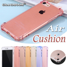 Air Cushion Clear Transparent Crystal TPU Soft Rubber Full Protection cover Case for iPhone 6 6S 7Plus 4.7 5.5 inch 10pcs/lot