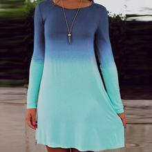 2017 Sea Blue Ocean Fashion Summer Dress Women's Long Sleeve Tiered Cute Gradient color Sequin Short Loose Dress