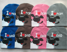 I Love Mom Dad Baby Toddler Cap Funcky Letters and Cow Design For Kids Infant Boys Girls Knit Beanie Sleeve Knitted Hat